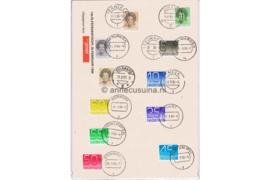 Alle stempels van Friese Elfstedentocht op Crouwel en Beatrixzegels