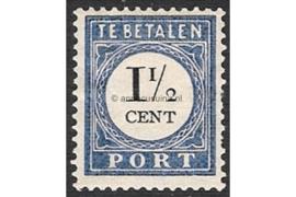 NVPH P15b Type I Postfris (1 1/2 cent) Cijfer en waarde zwart 1894-1910