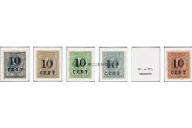 Suriname NVPH 29-33 (zonder 32a) Postfris Hulpuitgifte. Frankeerzegels der uitgifte 1873-1889, overdrukt in zwart 1898