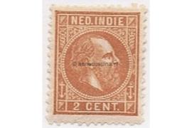 NVPH 6 Gestempeld (2 cent) Vaalbruin/Roodbruin Koning Willem III 1870-1888