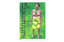 Zonnebloem 55 Postfris (15 cent) Surinaamse klederdrachten zoals deze bij bepaalde feestelijkheden worden gebruikt 1977