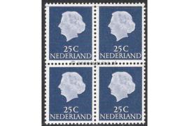 Nederland NVPH 623b Postfris FOSFOR (25 cent) (Blokje van vier) Koningin Juliana En Profil Lage waarden 1953-1967