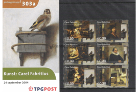 Nederland NVPH M303a+b (PZM303a+b) Postfris Postzegelmapje Carel Fabritius 2004