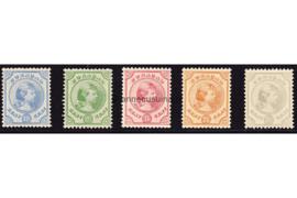Curaçao NVPH 19-23 Ongebruikt Prinses Wilhelmina 1892-1895