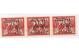 Nederland NVPH 356c (7 1/2 + 2 1/2 + 7 1/2 cent) Postfris Guilloche (traliezegels) in zwart op rood op 3 cent type vliegende duif 1926, 1940