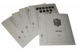 Lindner Inhouden / T-Voordruk albumbladen met folie voorbladen met stroken (Inhoud) Andorra Franse Post 1931-1971 (23 bladen) (Lindner 124)