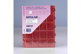 Importa Populair SETJE VAN: 4 x 20 Vaks Muntbladen met schuifjes & 4 Rode Schutbladen (Importa 0820r)