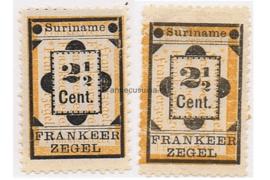 Suriname NVPH 22-22a Ongebruikt Hulpzegel 1892