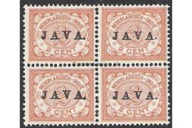 NVPH 65 Postfris (2 cent) (Blokje van vier) Zegels der uitgiften 1902/3-1908 overdrukt met zwart met JAVA 1908