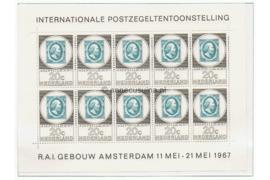 Nederland NVPH V886 Postfris Velletje met 10 zegels van 20 cent, Postzegeltentoonstelling Amphilex '67 1967