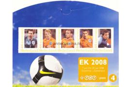 Nederland NVPH 2562-E-4 Postfris (in mapje (4)) Velletjes met vijf zegels (Persoonlijke Postzegels) Velletje EK Voetbal 2008; Henk Timmer, Dirk Kuyt, Wesley Sneijder, Robin van Persie, Maarten Stekelenburg 2008