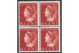 Nederland NVPH 333 Postfris (6 cent) (Blokje van vier) Koningin Wilhelmina (Konijnenburg) 1940-1947