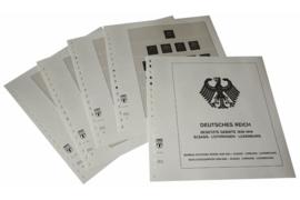 Lindner Inhouden / T-Voordruk albumbladen met folie voorbladen met stroken (Inhoud) Duitse Rijk Bezette Gebieden; Elzas, Lotharingen en Luxemburg 1940-1941 (4 bladen) (Lindner 117B)