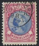 Nederland NVPH 47B (Valkenswaard) Gestempeld FOTOLEVERING (2 1/2 Gulden) Prinses Wilhelmina met hangend haar 1893-1896