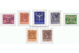 Nederland NVPH D9-D15 Gestempeld Opdruk COUR PERMANENTE DE JUSTICE INTERNATIONALE in goud op zegels van de uitgifte 1926-1935, 1926-1939 en 1933 1934-1938