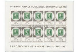 Nederland NVPH V888 Postfris Velletje met 10 zegels van 75 cent, Postzegeltentoonstelling Amphilex '67 1967