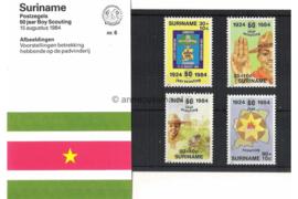 Republiek Suriname Zonnebloem Presentatiemapje PTT nr 6 Postfris Postzegelmapje 60 Jaar Padvinderij in Suriname 1984