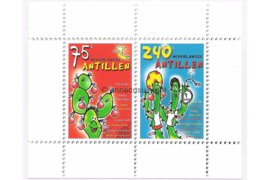 Nederlandse Antillen NVPH 1473 Gestempeld Blok met twee zegels 2003