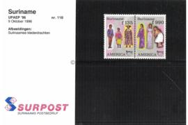 Republiek Suriname Zonnebloem Presentatiemapje PTT nr 110 Postfris Postzegelmapje U.P.A.E. America (achtste serie) Afbeeldingen van traditionele klederdrachten 1996