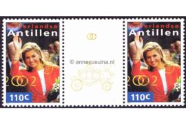 Nederlandse Antillen NVPH 1377a Postfris FOTOLEVERING Brugpaar (110 cent) MET RINGEN EN KOETS Koninklijk Huwelijk 2002