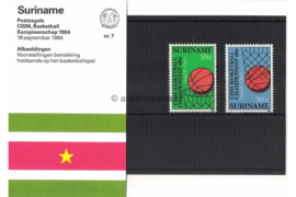Republiek Suriname Zonnebloem Presentatiemapje PTT nr 7 Postfris Postzegelmapje De CSIM (Conseil International du Sport Militaire) Basketball Kampioenschappen 1984