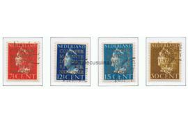 Nederland NVPH D16-D19 Gestempeld Opdruk COUR PERMANENTE DE JUSTICE INTERNATIONALE in goud op frankeerzegels der uitgifte 1940-1947 1940