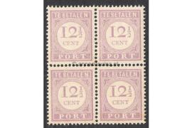 NVPH P24 Postfris (12 1/2 cent) (Blokje van vier) Cijfer en waarde in lila. Uitsluitend type I 1913-1931