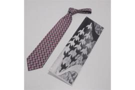 DAVO M.C. Escher zijden stropdas rood/grijs