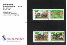 Republiek Suriname Zonnebloem Presentatiemapje PTT nr 106 (Zegels) Postfris Postzegelmapje Ter stimulering van het Ecotoerisme; zegels afkomstig uit het postzegelboekje nr. 8 1996