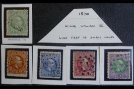 NVPH 8A, 9A, 12A, 15A, 16A Gestempeld FOTOLEVERING Koning Willem III Lijntanding 14 kl.g. 1870-1872