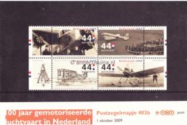Nederland NVPH M403b (PZM403b) Postfris Postzegelmapje 100 jaar gemotoriseerde luchtvaart in Nederland 2009