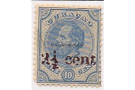 Curaçao NVPH 24 Postfris Hulpzegel. Frankeerzegel van 10 cent der eerste uitgifte, overdrukt in roodviolet 1895