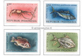 Indonesië Zonnebloem 391-394 Postfris Inheemse vissen 1963