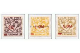 Suriname NVPH LP24-LP26 Postfris Mercurius Overdrukken 1945