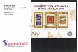 Republiek Suriname Zonnebloem Presentatiemapje PTT nr 109 Postfris Postzegelmapje Blok Olymphilex Atlanta 1996