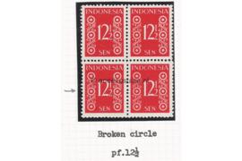 Bijzondere Plaatfout! Indonesië Zonnebloem 23B/23BF/23B/23B Postfris FOTOLEVERING (12 1/2 sen) Kamtanding  12 1/2 (Blokje van vier) Cijfertype 1949