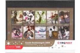 Nederland NVPH M305 (PZM305) Postfris Postzegelmapje Goede doelen; decemberzegels 2004