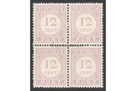 NVPH P23 Postfris (12 cent) (Blokje van vier) Cijfer en waarde in lila. Uitsluitend type I 1913-1931
