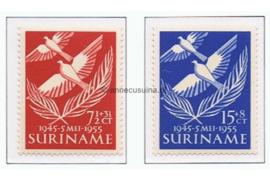Suriname NVPH 321-322 Postfris 10 jaar bevrijding Nederland 1955