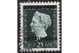 Indonesië Zonnebloem 3B / NVPH 353a Gestempeld FOTOLEVERING (25 cent) Hulpuitgifte. Opdruk Indonesië in zwart op zegels der uitgifte 1945 en 1948 1948-1949