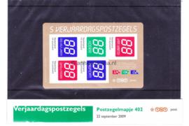 Nederland NVPH M402 (PZM402) Postfris Postzegelmapje Verjaardagpostzegels 2009
