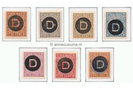 NVPH D1-D7  Ongebruikt Frankeerzegels der uitgiften 1892-1897, overdukt in zwart 1911