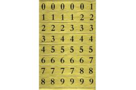 Velletje zwarte cijfertjes op goud rechthoekje (normaal lettertype)