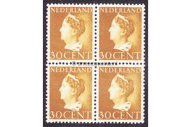 Nederland NVPH 342 Postfris (30 cent) (Blokje van vier) Koningin Wilhelmina (Konijnenburg) 1940-1947
