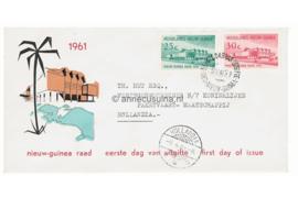 NVPH E6 Beschreven met open klep Nieuw-Guinea Raad 1961