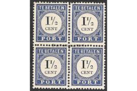 NVPH P15 (Blokje van 4) Postfris (1 1/2 cent) Cijfer en waarde zwart 1894-1910