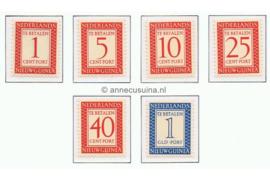Nederlands Nieuw Guinea NVPH P1-P6 Postfris Cijfer en waarde in rechthoek 1957
