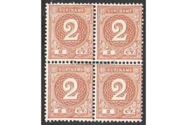NVPH 17 Postfris (2 cent) (Blokje van vier) Cijfer 1890-1893