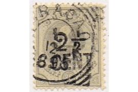 Curaçao NVPH 25 Gestempeld Hulpzegel. Frankeerzegel van 30 cent der eerste uitgave, handstempelopdruk in zwart 1895