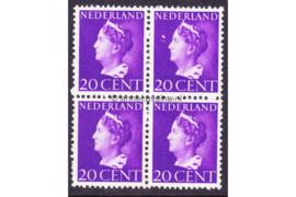 Nederland NVPH 339 Postfris (20 cent) (Blokje van vier) Koningin Wilhelmina (Konijnenburg) 1940-1947